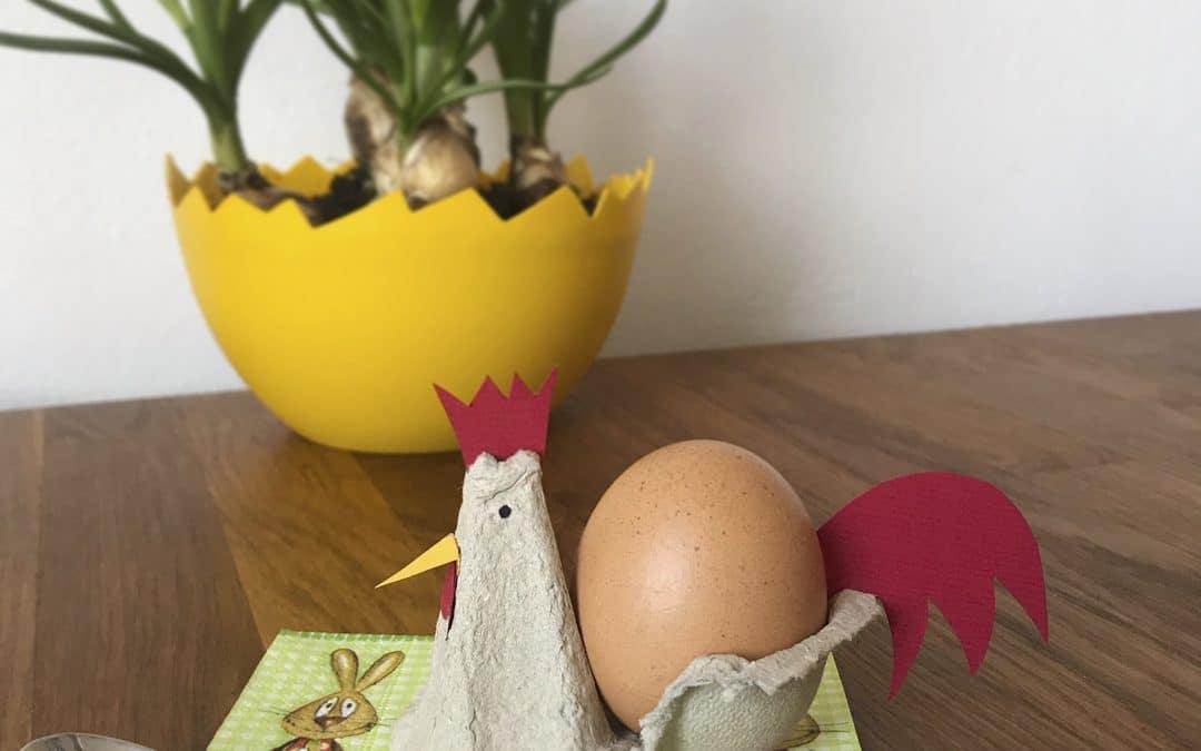 Eierbecher aus Eierschachteln basteln